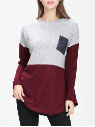 Front Pocket Colorblock Sweater -