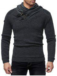 PU Leather Patched Shawl Collar Sweater -