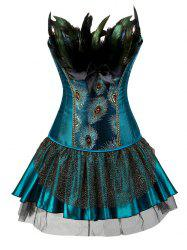 Plus Size Peacock Feather Overbust Corset with Tutu Skirt -