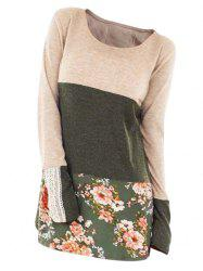 Flower Colorblock Guipure Panel Long Sleeve T-shirt -