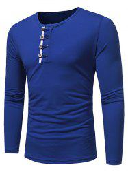 Long Sleeve Button Spliced T Shirt -