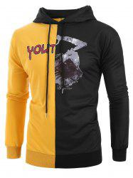 Plus Size Halloween Skeleton and Letters Print Contrast Pullover Hoodie -