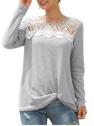 Knitted Crochet Panel Twist Long Sleeve Tee -