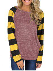 Striped Heathered Raglan Sleeves Round Neck Tee -