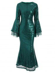 Flare Sleeves Sequined Round Neck Maxi Dress -