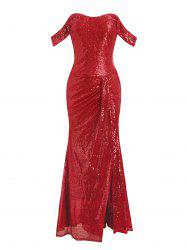Off Shoulder Gathered Sequined Sheath Maxi Dress -