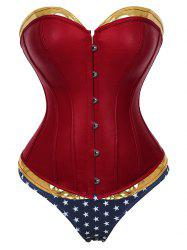 Plus Size PU Leather Lace Up Corset with Star Panty -