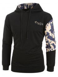 Plus Size Ink and Letter Print Drawstring Pullover Hoodie -