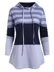 Plus Size Drawstring Hit Color Pullover Hoodie -