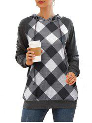 Plaid Raglan Sleeve Drawstring Tunic Pocket Hoodie -