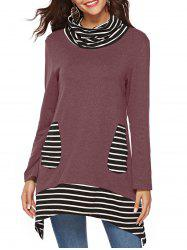 Cowl Neck Striped Pockets Long Sleeves Tee -