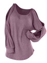 Plus Size Split Raglan Sleeve Tunic Knitwear -