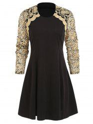 Lace Panel Round Collar A Line Dress -
