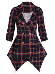 Asymmetrical Plaid Tunic Coat -