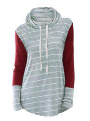Plus Size Drawstring Cowl Neck Stripe Curved Tee -
