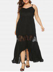 Cami High Low Lace Panel Plus Size Maxi Dress -