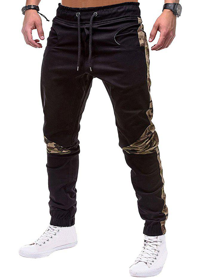Cheap Camouflage Print Spliced Drawstring Jogger Pants