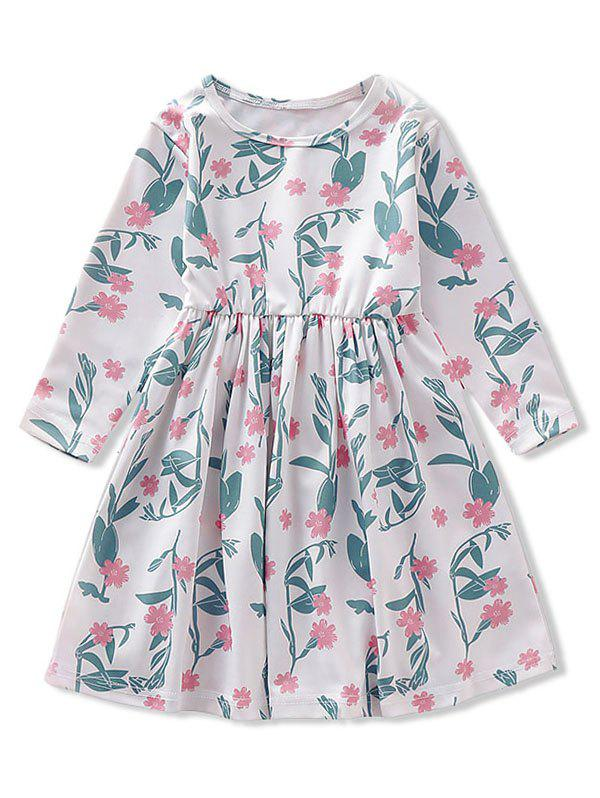 Buy Girls Floral Print High Waist Long Sleeve Dress