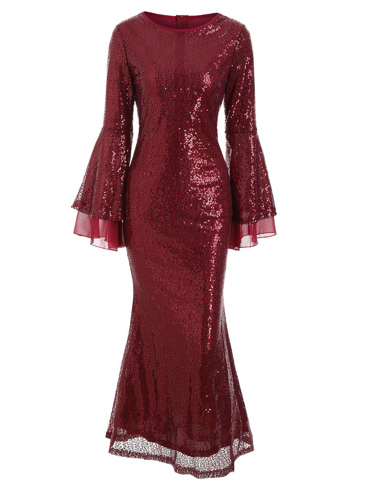 Discount Flare Sleeves Sequined Round Neck Maxi Dress