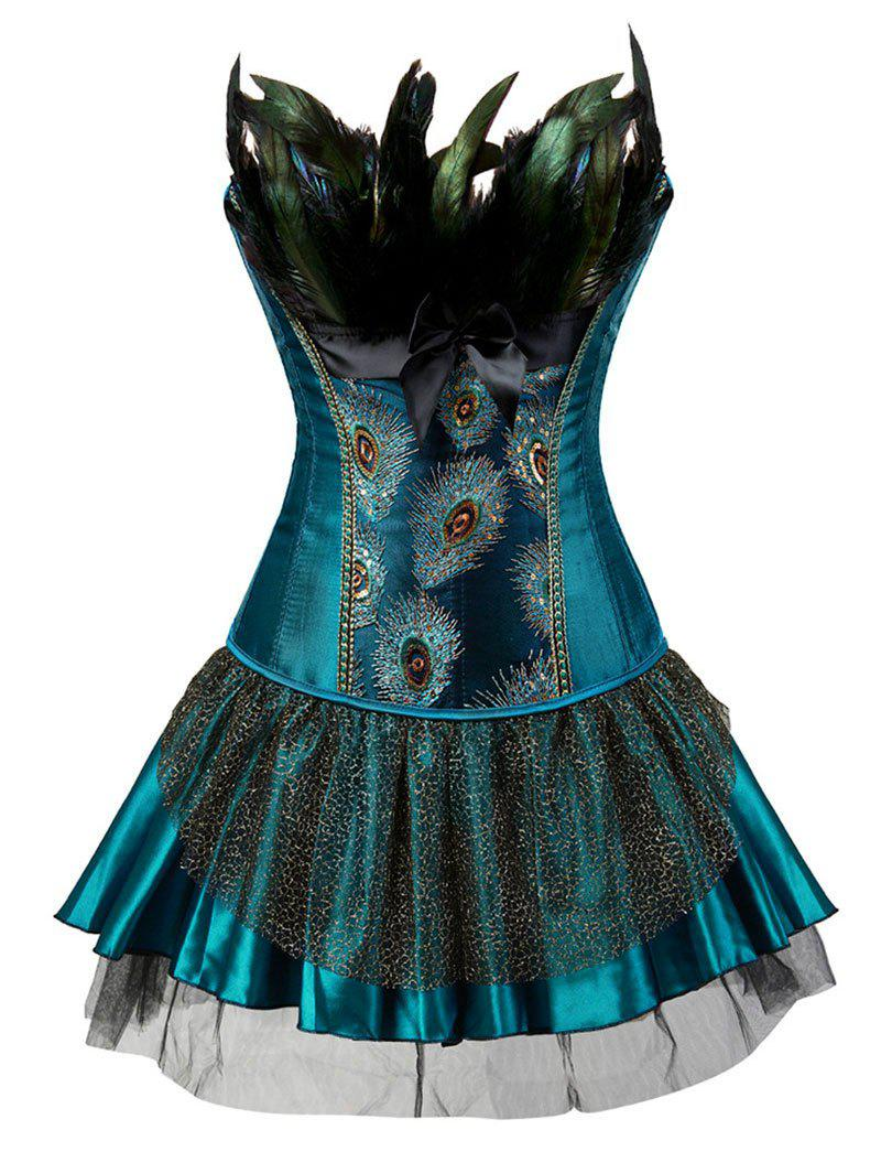 Shops Plus Size Peacock Feather Overbust Corset with Tutu Skirt