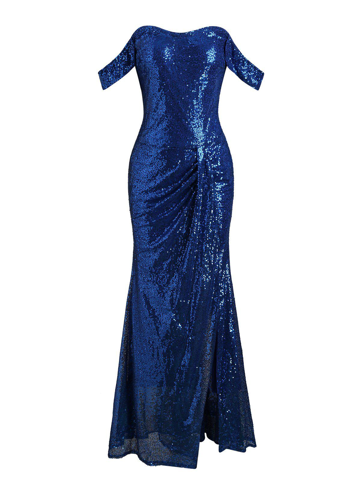 Cheap Off Shoulder Gathered Sequined Sheath Maxi Dress