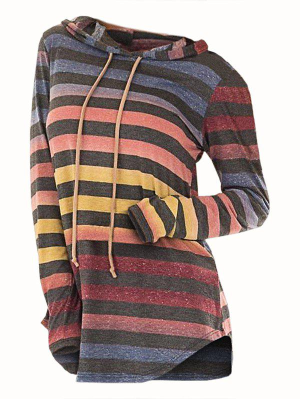 Online Striped Hooded Drawstring Longline Knitwear