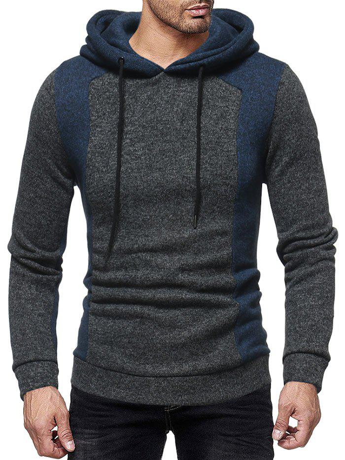 Hot Contrast Color Splicing Drawstring Hoodie