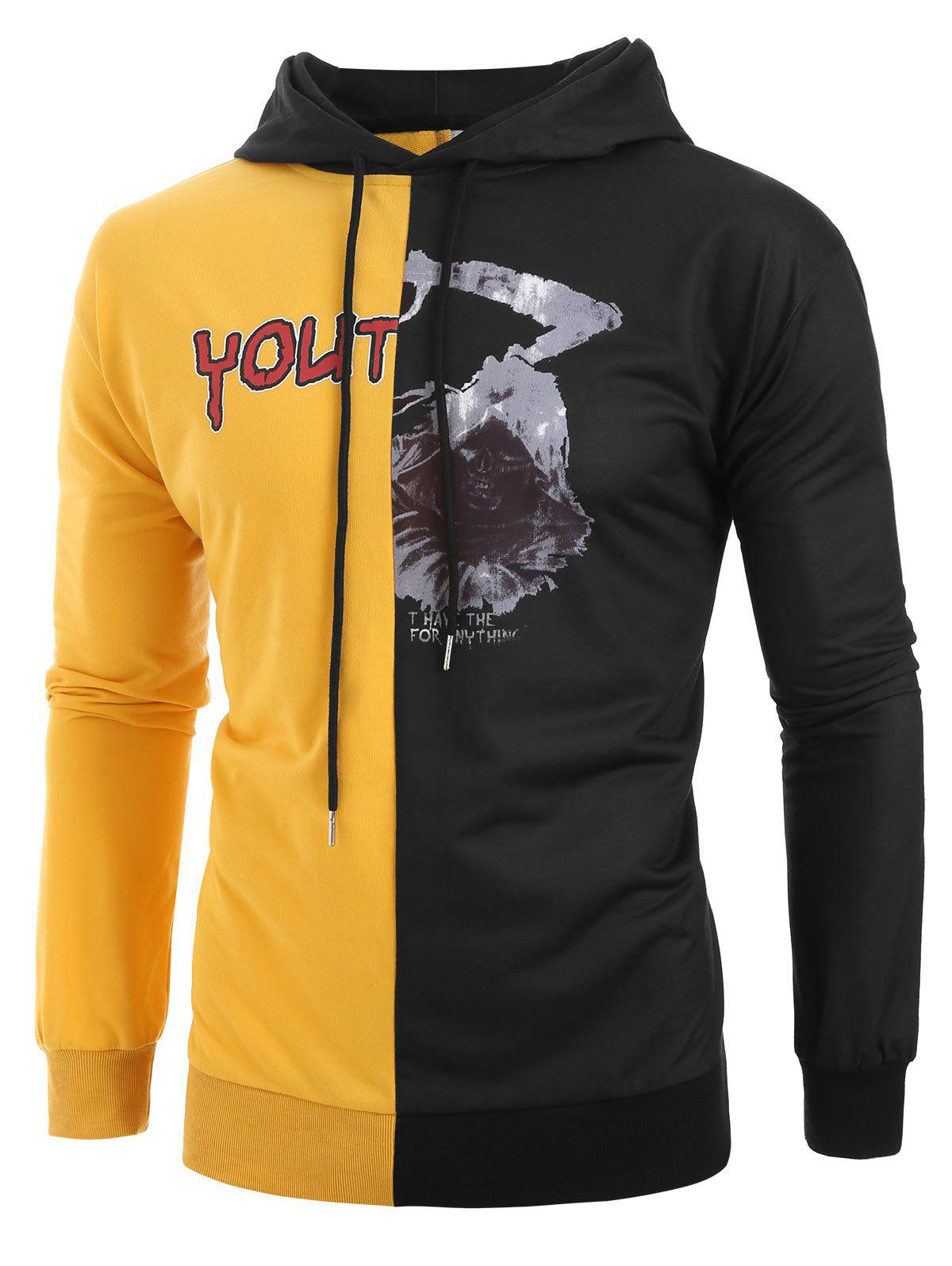 Sale Plus Size Halloween Skeleton and Letters Print Contrast Pullover Hoodie