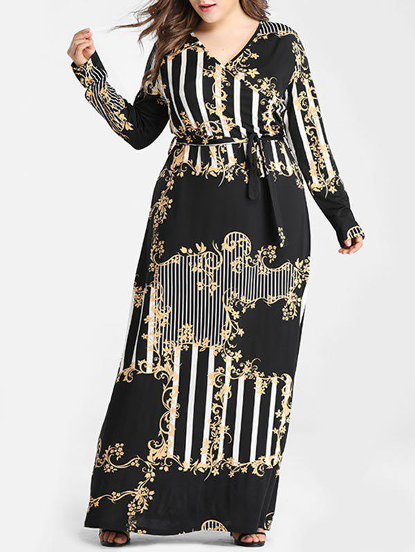 Hot Belted Printed Stripes Surplice Plus Size Maxi Dress