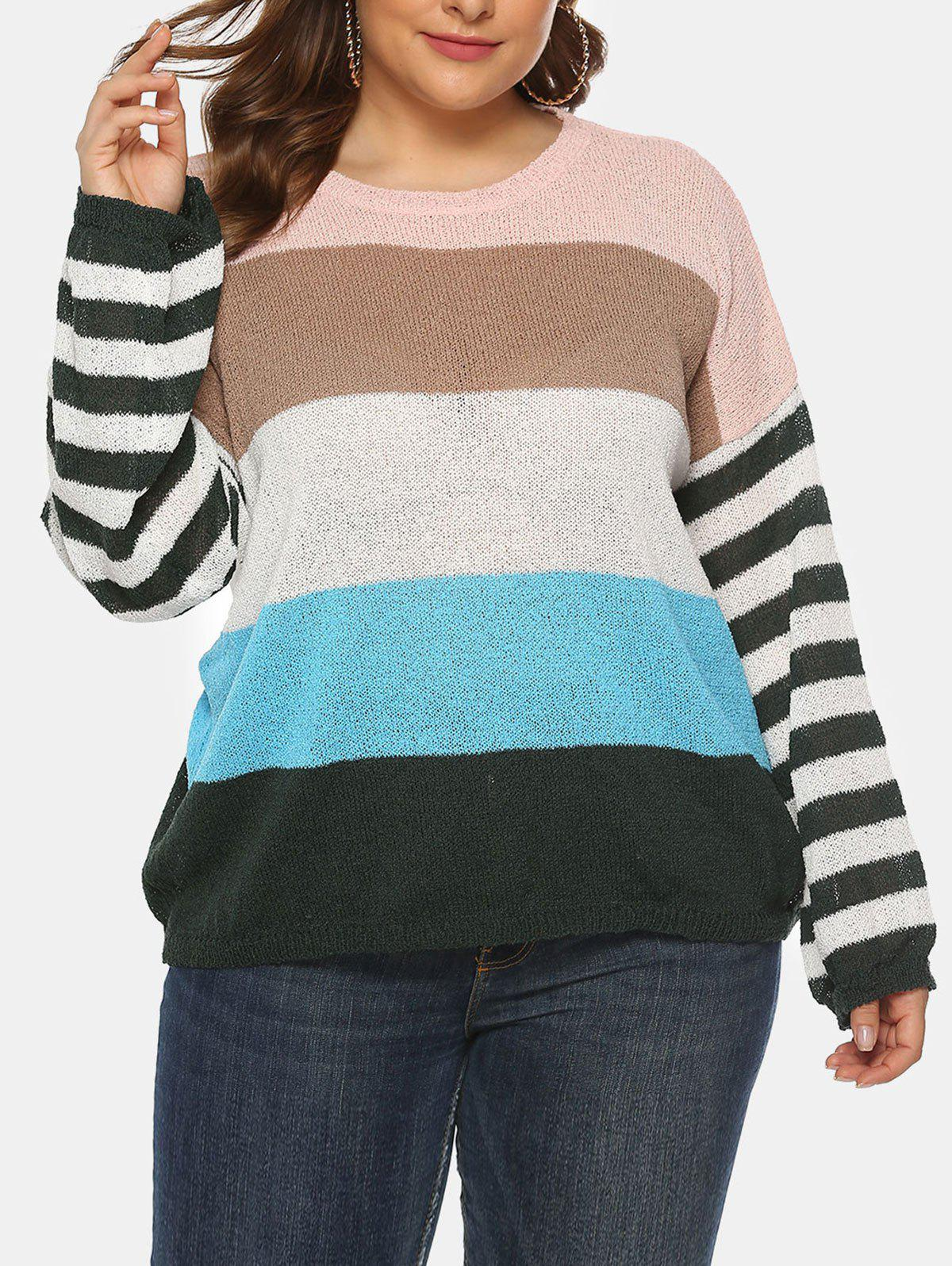 Outfit Plus Size Striped Colorblock Crew Neck Sweater