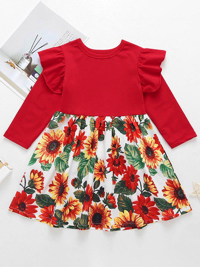 Hot Girls Floral Print Ruffled Sleeve A Line Dress