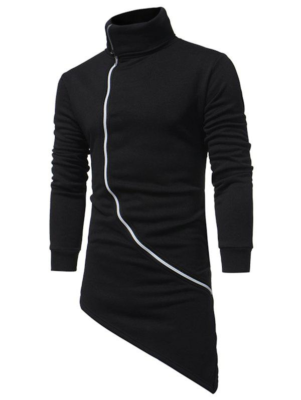 Buy High Low Zipper Solid Longline Fleece Zipper Sweatshirt