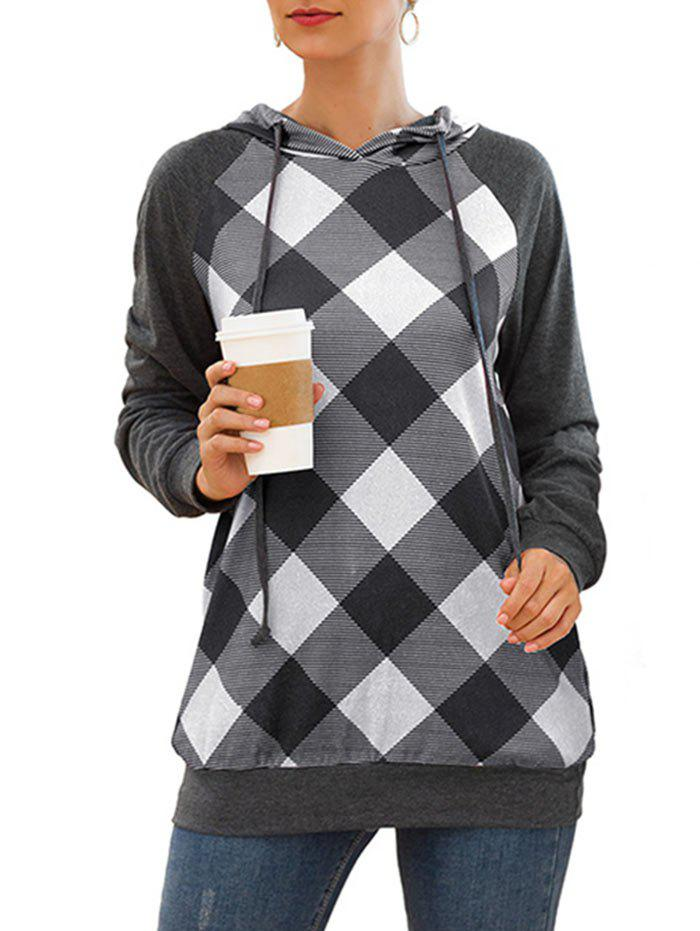 Shop Plaid Raglan Sleeve Drawstring Tunic Pocket Hoodie