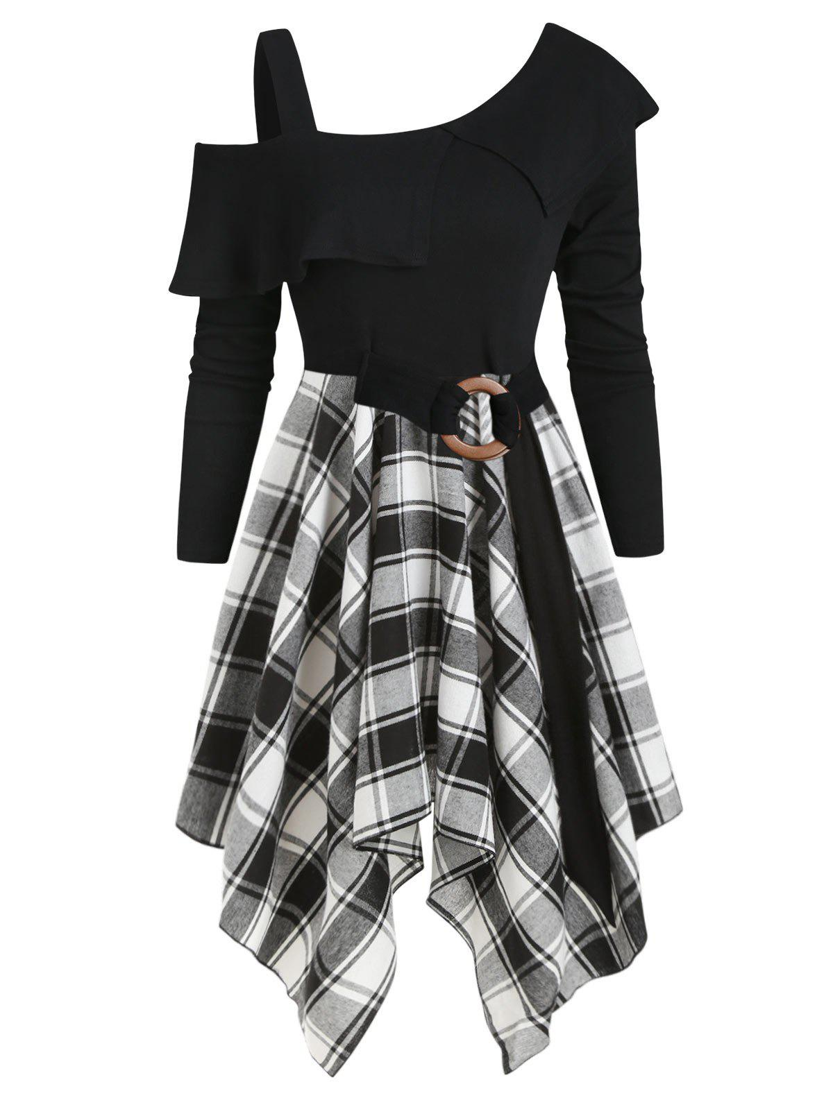 Latest Plaid Skew Neck Flounce Asymmetrical Dress