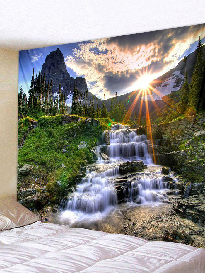 Affordable Sun Mountain Waterfall Pattern Tapestry Polyester