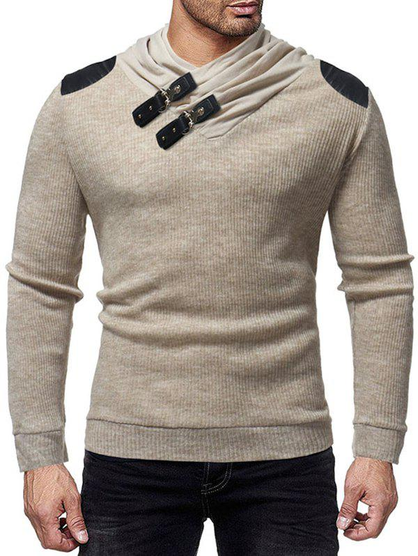 Best PU Leather Patched Shawl Collar Sweater
