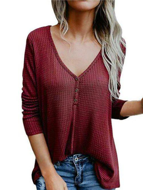 Affordable Snap Button Longline V Neck Top