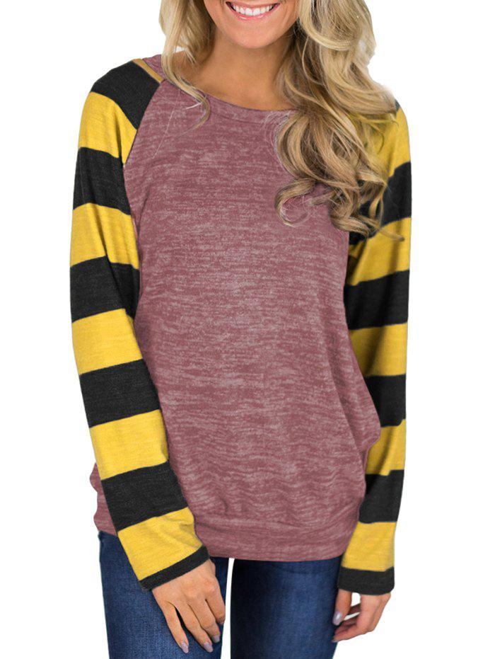 Shops Striped Heathered Raglan Sleeves Round Neck Tee
