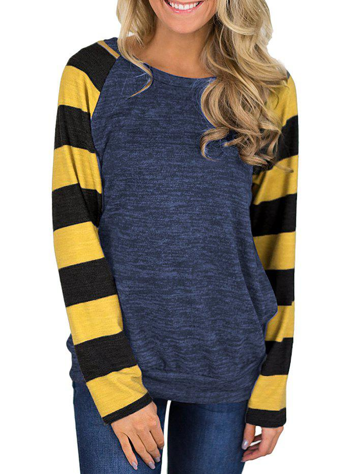 Outfit Striped Heathered Raglan Sleeves Round Neck Tee