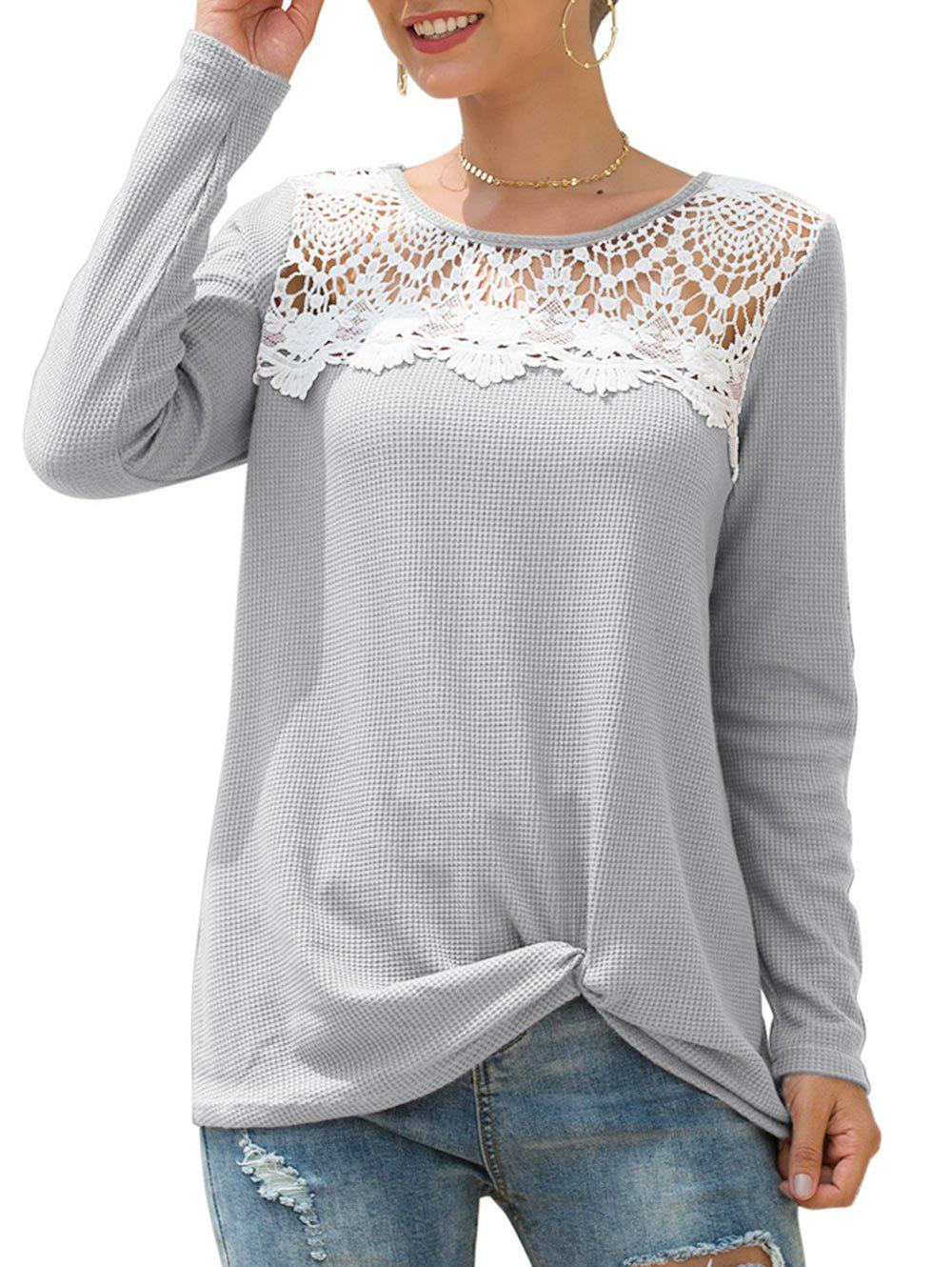 Hot Knitted Crochet Panel Twist Long Sleeve Tee