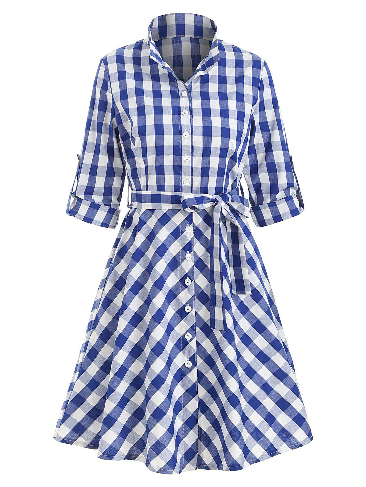 Buy Button Up Plaid Belted Mini Dress