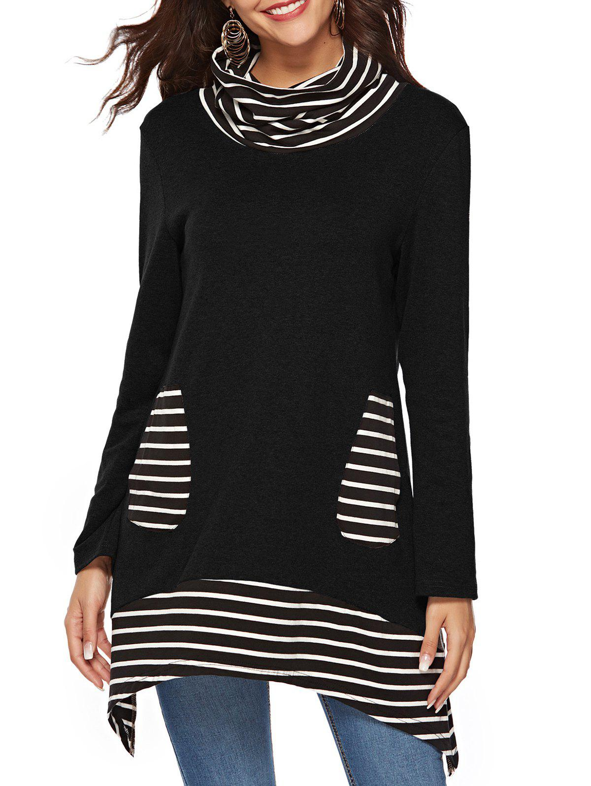 Sale Cowl Neck Striped Pockets Long Sleeves Tee