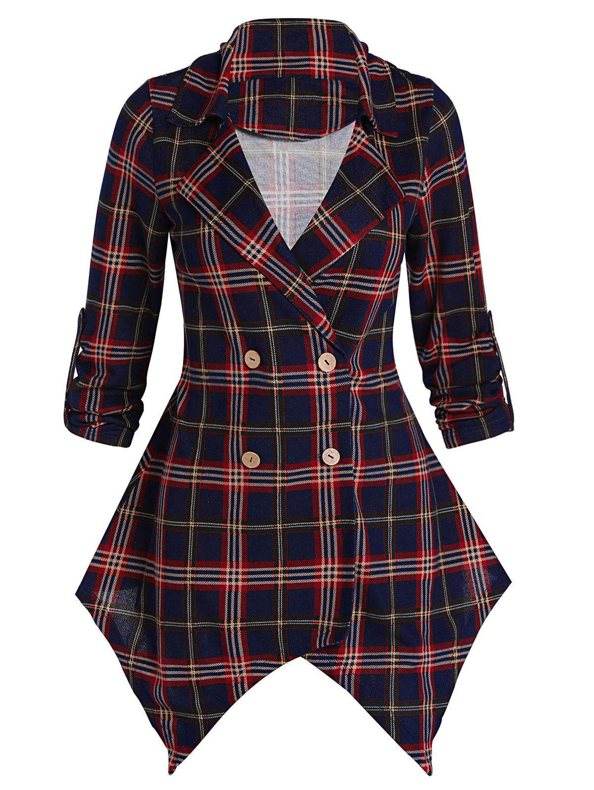 Latest Asymmetrical Plaid Tunic Coat