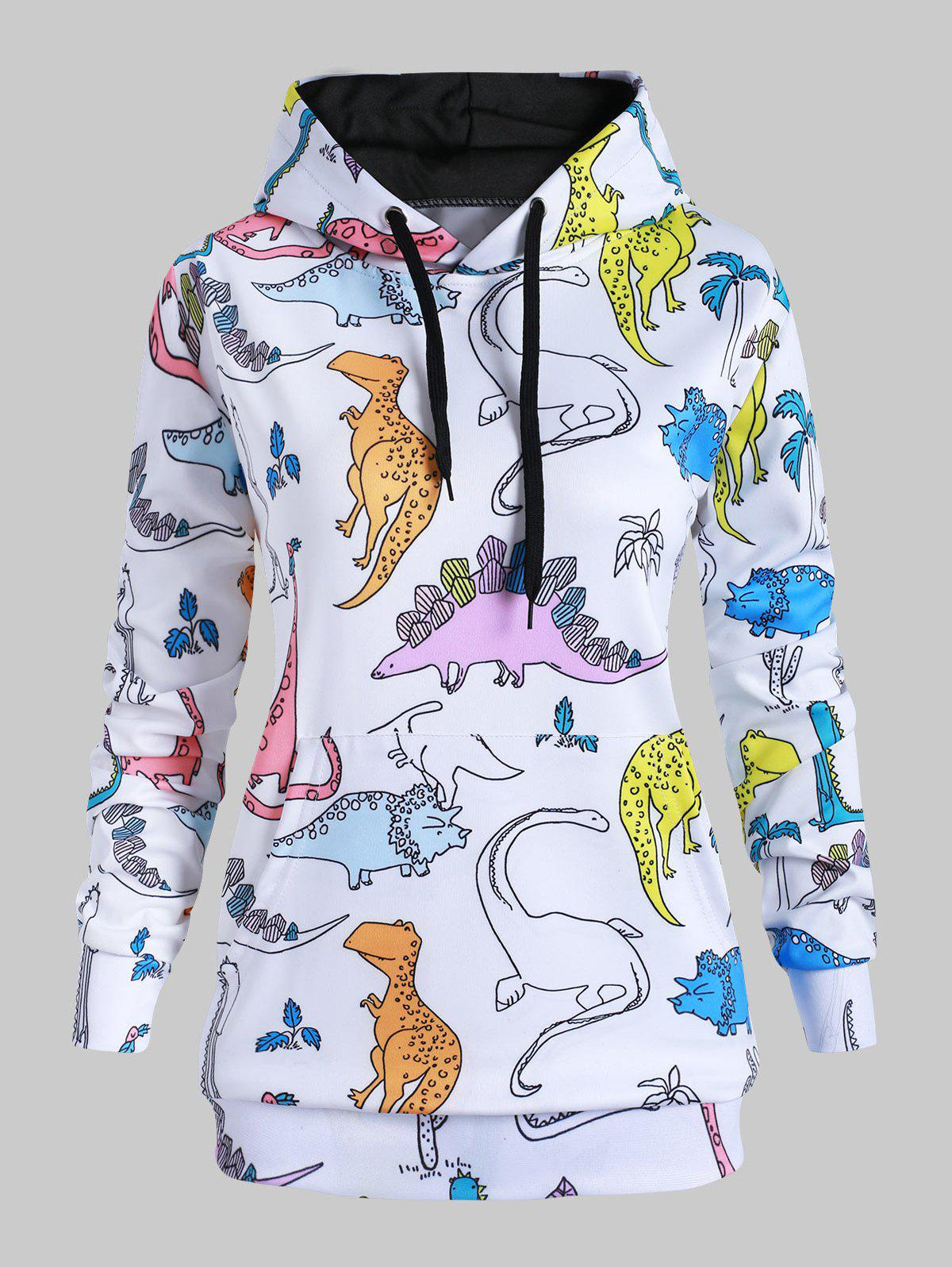 Sale Drawstring Front Pocket Dinosaurs Print Plus Size Hoodie