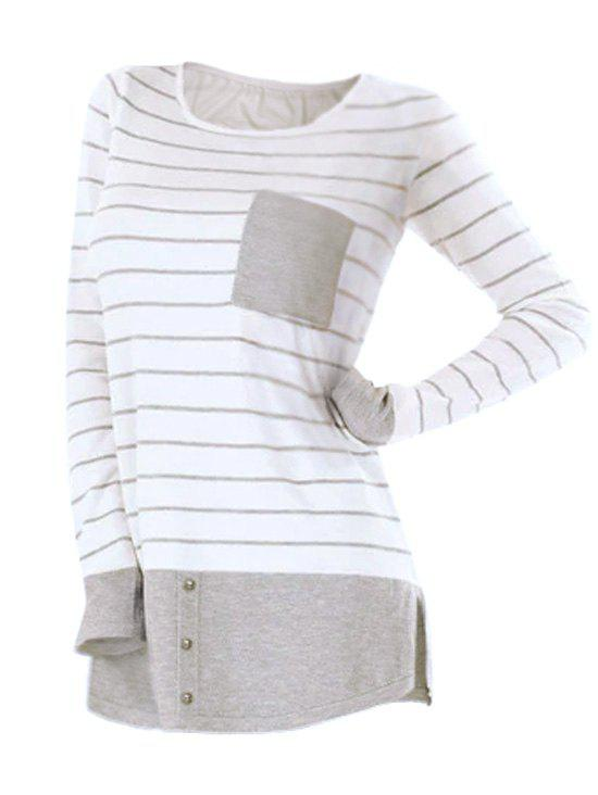Store Striped Button Embellished Longline T-shirt
