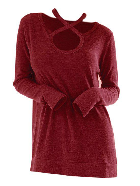 Outfits Criss Cross Keyhole Long Sleeve T-shirt