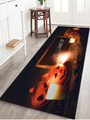 Halloween Pumpkin Candle 3D Print Floor Rug - HALLOWEEN ORANGE - W24 X L71 INCH