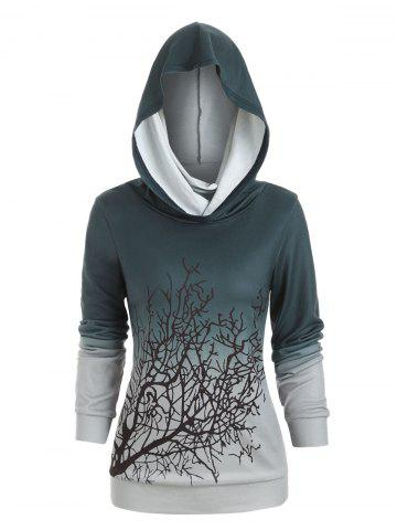 Halloween Convertible Collar Tree Print Sweatshirt