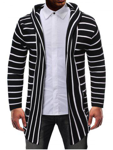 Striped Design Open Front Knitted Hooded Cardigan - BLACK - XS
