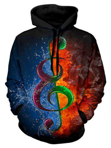 Water and Fire Music Note Print Drawstring Hoodie